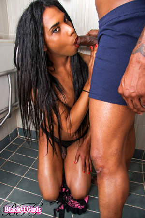 Sloppy Black TGirl Deepthroat Blowjobs