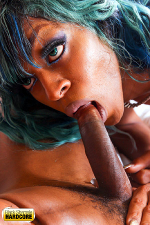 Ebony Shemale Tongue Flicking and Cock Licking Blowjob