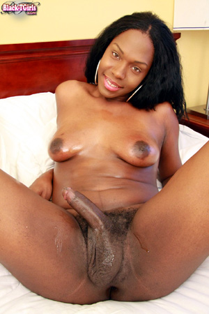 Horny Black Tranny Shoots a Huge Sticky Cumshot