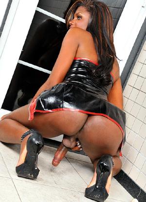 Big Cock Ebony Shemale Latex Upskirt in Heels
