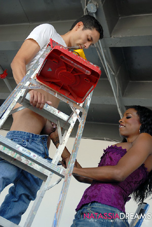 Busty Ebony Shemale Handjob and Cumshot
