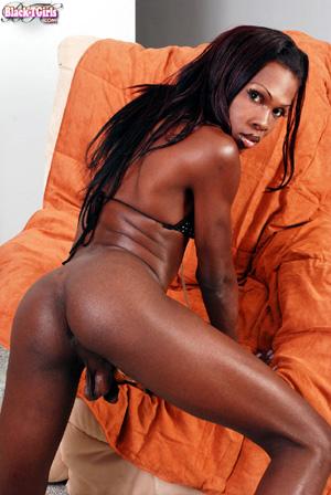 Stunning Black TGirl Reality Sex Cumshot