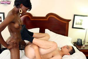 Interracial Amateur Couple Fucking a Black Tranny Cock
